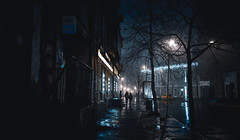 The Lonely Walk (Camille Marotte) Tags: 2018 kiev leica street streetphotography night ukraine fog rain reflections city urban pedestrian dark contrast leicaq wet lonely alone silhouette people cityscape nightlife 28mm neon neons streets lights