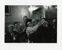 Alfred M. Vellucci being congratulated by his daughter on the night of his election as mayor, March 30, 1970 (Cambridge Room at the Cambridge Public Library) Tags: cambridgemass cambridge massachusetts bw blackandwhite olivepierce pierceolive alfredvellucci velluccialfred cambridgecitycouncil