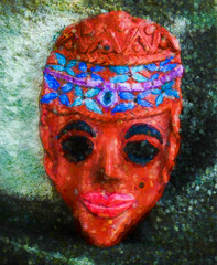 The Clay Face (Steve Taylor (Photography)) Tags: clay face mask headband mole impressionist digitalart sculpture blue brown black green red orange smile smiling woman lady newzealand nz southisland canterbury christchurch newbrighton texture southnewbrighton