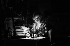 focused on studying (Angelo Petrozza) Tags: studying studio lamp clessidra hourglass sandglass pencil angelopetrozza revuenon55mmf12 manuallens blackandwhite biancoenero bw light luce