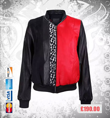 Black-&-Red-Leather-Bomber-Jacket-With-Printed (devilsondotcom) Tags: fashion leather jackets mens real clothing wear red printed