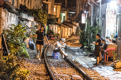 Late dinner (mystero233) Tags: train street trainstreet railroad tracks dinner eat food night hanoi vietnam rain nighttime light outdoor city town asia landscape travel traveller