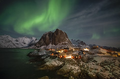 Moonlit night in Hamnoy (Joost10000) Tags: mountain mountains rock water sea atlantic ocean landscape landschaft sky aurora borealis auroraborealis northern lights northernlights wild wilderness hamnoy village rorbu rorbuer lofoten norway norge noorwegen norwegen canon canon5d eos fjord snow ice winter harbour carlzeiss distagon1528ze distagont1528 ze nature travel europe night nightphotography longexposure nightsky skyatnight boreal