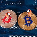 Silver and Golden Bitcoin with two miners thumbnail