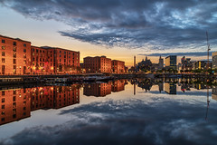 Salthouse Dock, Liverpool (gmorriswk) Tags: liverpool england unitedkingdom gb albert dock royal salthouse liver building three graces pump house reflection reflections cityscape landscape sunset long exposure