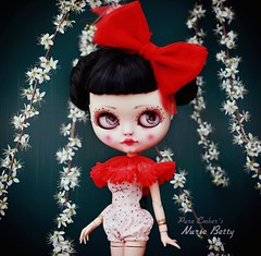 Unexpected ❣️ (pure_embers) Tags: pure embers blythe doll dolls laura england uk custom cocomicchi nurse betty embersnursebetty takara neo girl photography pinup goth romper red bow flowers