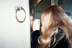 * (strangeBeetles) Tags: girl blonde mirror candid flash film analog 35mm kodak