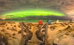 Fabulous Findhorn (donnnnnny) Tags: aurora findhorn scotland beach snow beachhuts panorama o process auroras photoshop