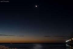 Moon in Water (Helen C Photography) Tags: moon sunset beach ocean dusk evening moonrise moonscape reflection night serenity jetty pier nikon d750