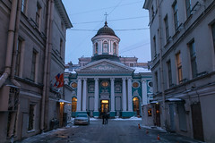 Morning in St. Petersburg. (Oleg.A) Tags: saintpetersburg sunrise winter church street city outdoor town snow morning blue colorful old cathedral orthodox dome sky cross exterior russia style architecture catedral outdoors petersburg st leningradoblast ru