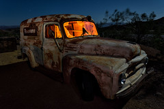 firestone. eldorado canyon, nv. 2016. (eyetwist) Tags: eyetwistkevinballuff eyetwist night truck internationalharvester panel van patina techatticupmine eldoradocanyon nelson nevada abandoned dark longexposure fullmoon desert nikon d7000 nikkor capturenx2 1024mmf3545g npy nocturne highdesert americana americantypology american typology dead empty desolate lonely derelict decay nv wideangle 1024mm shadow mojavedesert ruin lightpainting old vintage rust rusty southwest startrails star trails techatticup mine typography ghosttown touristtrap coloradoriver ram grille hood ornament windshield cracked headlights chrome carmageddon red orange broken shattered firestone