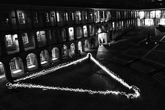 Painting with light (douglasjarvis995) Tags: arch history old architecture building sony a7 samyang 24mm night light painting halifax piecehall monochrome mono yorkshire