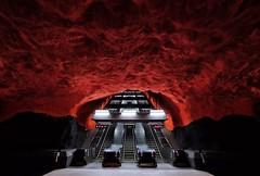 Solna Centrum (Douguerreotype) Tags: sverige steps red tube tunnel underground urban sweden stockholm tbana city stairs escalator architecture metro tunnelbana subway station
