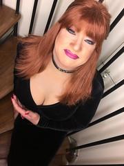 How do the puppies look.. (Sissy kaylah) Tags: trans transvestite tranny crossdress crossdresser crossdressing redhead boobs blackdress trannie heavymakeup velvet choker