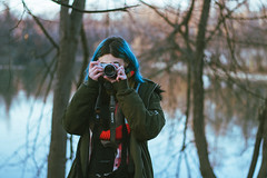 Filmlook (Michael Xyrie) Tags: portrait girl woman adult camera photocamera mirrorless bluehair blue indie grain moody outfit cold winter outside outdoor bokeh trees lake park urban