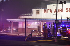Fire - MFA Agri Services (Adventurer Dustin Holmes) Tags: firefighting fire mfa mfaagriservices lacledecounty lebanonmo lebanon lebanonmissouri missouri emergency event events news photography structure business building night february 2019 downtown smoke smoky smokey lowlight firedept firedepartment fireengine firetruck responders firstresponders emergencyvehicle emergencyvehicles vehicle vehicles firehydrant firefighter people person outdoor burned burning firefighters truevalue damage damaged destroyed