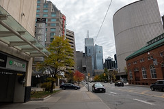 Toronto Street (Jocey K) Tags: sonydscrx100m6 triptocanada ontario canada autumn toronto city streets highrise clouds sky buildings architecture cars signs signage trees autumncolours