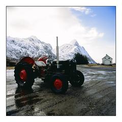 Tangstad - Velvia 50 (magnus.joensson) Tags: norway norwegian lofoten hasselblad 500cm carl zeiss distagon 50mm fle cf winter fuji velvia 50 tractor
