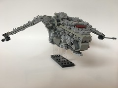 M-Wing Advanced 2 (Brixter Productions) Tags: lego moc scifi sci fi science fiction fantasy floating model brick piece creative original afol contraption inventive gun wood metal junk scrap scratch pilot ship fly flying big large space galaxy universe star wars fighter blaster engine tech technology engineer advance advanced wing m grey red battle cruiser animal armor dinosaur greeble effect