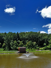 Fountain on the Lake (George Neat) Tags: indian lake park irwin north huntingdon water pond fountain outside clouds westmoreland county pa pennsylvania georgeneat patriotportraits neatroadtrips