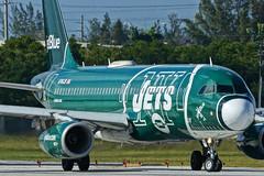 N746JB NY Jets FLL JTPI 5119 (JTOcchialini) Tags: kfll fll jet blue a320 ft lauderdale hollywood international airport 2019 runway 10r special boston celtics ny jets i heart new york