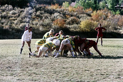 71-891 (ndpa / s. lundeen, archivist) Tags: nick dewolf nickdewolf color photographbynickdewolf 1975 1970s film 35mm 71 reel71 summer fall aspen colorado september ruggerfest aspenruggerfest 8thannual eighthannual rugby tournament women womensrugby woman youngwoman youngwomen player players jersey jerseys uniform uniforms girl girls game playing field rugbyfield scrum valley roaringforkvalley man official