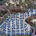 Drohnenaufnahme von gesamter Ferienanlage Qurios in Bloemendaal aan Zee, Niederlande