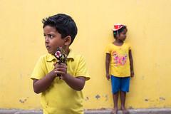 Yellow, Pondicherry (Geraint Rowland Photography) Tags: yellow colourful children models childrenportraits pondicherry tamilnadu india toy toygun cutechildren depthoffield bokeh cute wwwgeriantrowlandcouk indianchildren play shy geraintrowlandphotographyindia canon canonindia 50mm