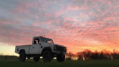 Defender 110 TD5 (Sam Tait) Tags: land rover 4x4 defender diesel turbo pick up truck white sunrise sky 110 25 td5 td 2006