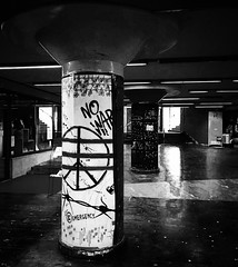 """No War"" (giannipaoloziliani) Tags: station railwaystation dark obscurity darkness shadows lights underground railway columns iphone iphonephotography blackandwhite biancoenero monochrome monocromatico nowar italy italia liguria lightandshadow genova genoa brignole"