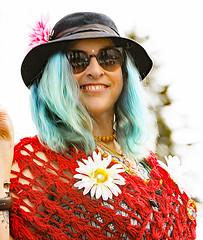 Blue Hair (wyojones) Tags: montana whitefish feburary wintercarnival woodstockwhitefish 60s 1969 vintage shawl glasses sunglasses woman girl chick hair bluehair flower hat smile wyojones
