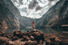 She againts the giants. (lasz.patrik) Tags: europe see water lake alps alpsee sea mountains girl model sky clouds germany deutschland amazing beautiful travel landscape summer brechtesgaden bavaria bayern canon canoneos750d sigma hungarian