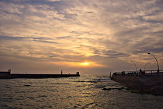 Breakwater (Roi.C) Tags: sunset sunlight sunbeams light cloud clouds cloudscape sky skyline wave waves water beach sand sea seascape landscape season reflection outdoor outside serene israel nikon d5300 nikkor 2017 travel color colour colors lighting nature camera digital photography photograph photo view composition sun sunrise framing frame world sharp lens trip colours sunrays romantic evening 18140mm breakwater quay fishing fishermen mediterraneansea