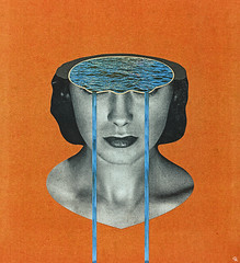 gawlt (woodcum) Tags: woman lady portrait head sea lake water waterfall tears surreal grain collage vintage retro color