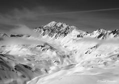 Pointe de la Sana (Dave Snowdon (Wipeout Dave)) Tags: davidsnowdonphotography panasonic lumixdmctz6 landscape hautesavoie france francais frenchalps alps alpine alpes tignes mountains snow winter skiing rocherducharvet pointedelasana valdisere blackandwhite