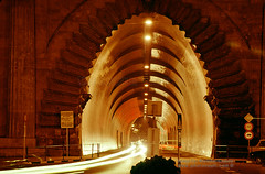 Budapest Tunnel in the Night (Vern Krutein) Tags: cehv01p0706 budapest city urban hungary hungarian travel scenics architecture europe european structure historic tunnel nigttime carlights streaks