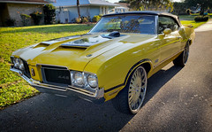 HipHop Oldsmobile (Burnt Umber) Tags: 1970 70 442 olds oldsmobile hemi w30 muscle car antique chicanomobile headlamps tail lights canaryyellow rpilla001 classic old detroit yellow convertable auto automobile ©allrightsreserved chrome