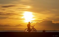 Bike Selfie (Clayton Perry Photoworks) Tags: vancouver bc canada richmond steveston spring explorebc explorecanada sunset garrypointpark clouds bicycle bike silhouettes