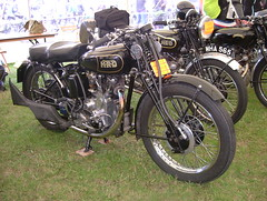 A lovely pair of HRD motorcycles (catrionatv) Tags: pophamairfield motorcycleshow tent vincent hrd philvincent ernesthumphries howardraymonddavis classicmotorcycle
