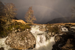 incoming snow storm (Twenty-21) Tags: scotland rainbow highlands uk sony a99ii snow storm blizzard waterfall water rocks mountains trees
