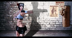 Unstoppable (Xan Baran) Tags: 2ndlife secondlife avatar female sports mesh bento boxing boxer azoury boxingheadgear helmet gloves belleepoque top tank short deaddollz tattoo chantnoir bandaids musu cigarette nikotin smoking blonde spellbound ponytails lelutka aviglam pinkfuel maitreya pose xans