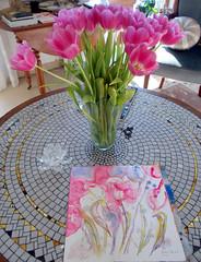 I love tulips ! (Nadia Minic) Tags: flowers blumen blumenstrauss tulpenstrauss rosa pink vase watercolour tulips january art painting nadiaminic luxembourg