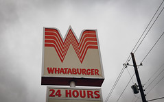 Whataburger Fast Food Restaurant Sign - Nacogdoches, Texas (Tony Webster) Tags: 24hours nacogdoches texas whataburger drivethru fastfood restaurant