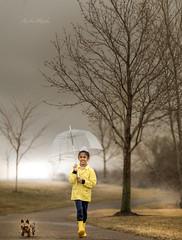 The calm before a strom (Manjinder Kaur Papial) Tags: rain umbrella aprilshowers sikhboy dog yorkie minnesota manjinderkaurpapial nikkor outside fog