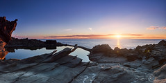 Good things happen to those who wait (f25design) Tags: rock sun sky nature landscape sea ocean outdoors horizon dawn coast reflection standing promontory sunlight cloud photography cliff bay outdoor bodyofwater noperson seashore shore rocky naturallandscape light flare morning shoreline