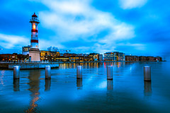 Cityscape (Maria Eklind) Tags: bridge dockan water spegling city cityscape universitetsbron fyr inrehamnen bluehour twilight sky studiomalmö lighthouse malmö reflection sweden skånelän sverige se