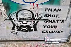 RIP, London, UK (Robby Virus) Tags: london england uk unitedkingdom greatbritain britain gb english british idiot your excuse rip artist street art stencil graffiti