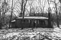 IMG_8350logo (Annie Chartrand) Tags: schoolhouse illinois calhouncounty abandoned rural ruraldecay matte monochrome bw blackandwhite forest snow winter