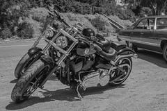 Twins (Malcom Lang) Tags: harley davidson twin twins motors motor motorbike crome bw black white art work seats helmets wheel tyres wheels tank road car garden stand mirrors steps stairs lights mudgaurds canon mal lang photography outdoor outside southaustralia southern south southernaustralia australia australian aussie