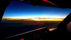 never tire of this scene! (Jaws300) Tags: setting settingsun horizon sky bluesky blueskies freightdog freighter ocean water weather cloud clouds sea china south aloft air ahk dhl a306 a300 scenery flying nature outthewindow window windowseat fly flyingscenery airbus airborne sunset sun set a300600 cockpit flightdeck flight flightlevels southchinasea